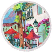 Round Beach Towel featuring the painting Early Morning Coffee In Old Town La Quinta 2 by Diane McClary