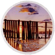 Early Morning Contrasts Round Beach Towel