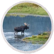 Early Morning Crossing In Grand Teton Round Beach Towel