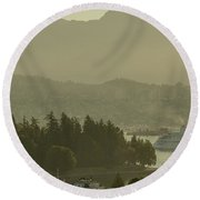 Round Beach Towel featuring the photograph Early Morning Cruise Ship Arrival by Ross G Strachan