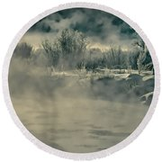 Round Beach Towel featuring the photograph Early Morning Frost On The River by Don Schwartz