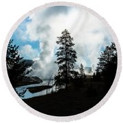 Early Morning Geysers At Yellowstone Round Beach Towel