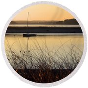 Early Morning Haze Round Beach Towel