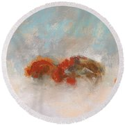 Early Morning Herd Round Beach Towel by Frances Marino