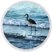 Early Morning Heron Beach Walk Round Beach Towel