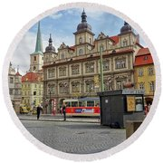 Early Morning In Prague Round Beach Towel