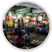 Round Beach Towel featuring the photograph Early Morning Koyambedu Flower Market India by Mike Reid