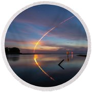 Early Morning Launch Round Beach Towel