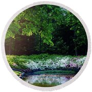 Early Morning Light At The Azalea Pond Round Beach Towel by Tamyra Ayles