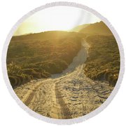 Early Morning Light On 4wd Sand Track Round Beach Towel