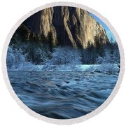 Early Morning Light On El Capitan During Winter At Yosemite National Park Round Beach Towel