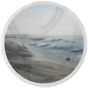 Early Morning Mist Round Beach Towel