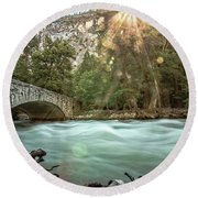 Early Morning On The Merced River Round Beach Towel