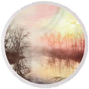 Round Beach Towel featuring the photograph Early Morning On The River by Debra and Dave Vanderlaan
