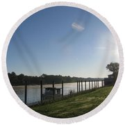 Early Morning On The Savannah River Round Beach Towel by Donna Brown
