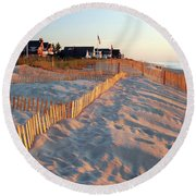 Early Morning On The Shore Round Beach Towel