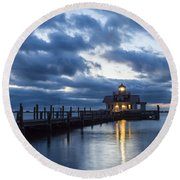 Early Morning Over Roanoke Marshes Lighthouse Round Beach Towel