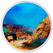 Early Morning Over The Canyon Round Beach Towel