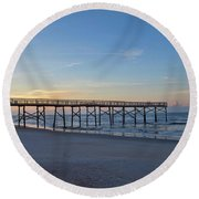 Early Morning Pier Round Beach Towel