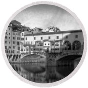 Round Beach Towel featuring the photograph Early Morning Ponte Vecchio Florence Italy by Joan Carroll