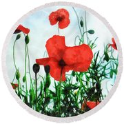 Early Morning Poppy Moment Round Beach Towel