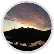 Round Beach Towel featuring the photograph Early Morning Red Sky by Barbara Griffin