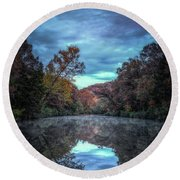 Early Morning Reflection Round Beach Towel