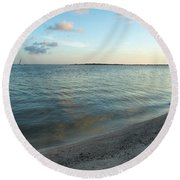 Round Beach Towel featuring the photograph Early Morning Reflections by John M Bailey