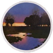 Early Morning Rice Fields Round Beach Towel