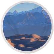 Early Morning Sand Dunes And Snow Covered Peaks Round Beach Towel by James BO Insogna