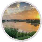 Early Morning Sunrise On The Lake Round Beach Towel