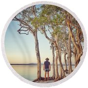 Round Beach Towel featuring the photograph Early Morning Tranquility Down By The Lake by Keiran Lusk