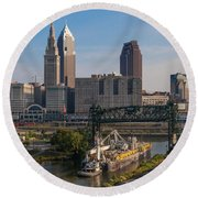 Early Morning Transport On The Cuyahoga River Round Beach Towel
