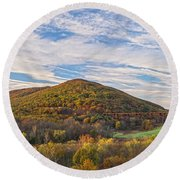 Early Morning Trestle Skies Round Beach Towel
