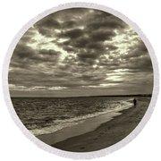 Early Morning Walk On Virginia Beach Round Beach Towel