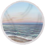 Early Morning Waves Round Beach Towel