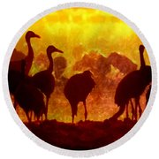 Early Risers  Round Beach Towel by Tlynn Brentnall