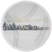 Early Skyline Round Beach Towel