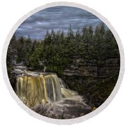 Early Snow At Black Water Falls Round Beach Towel