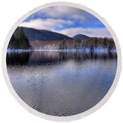 Early Snow On West Lake Round Beach Towel