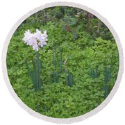 Early Spring Garden Flowers Round Beach Towel