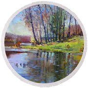 Early Spring In Bear Mountain Round Beach Towel