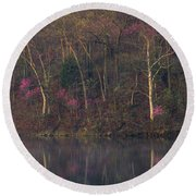 Early Spring Lake Shore Round Beach Towel