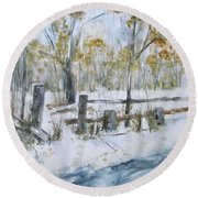 Early Spring Snow Round Beach Towel