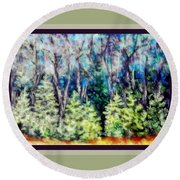 Early Spring Tree Line Round Beach Towel by Shirley Moravec