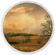 Early Spring Storm Round Beach Towel