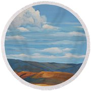 Early Summer Blue Hills Round Beach Towel