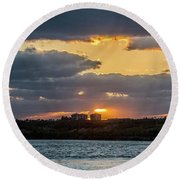 Early Sun Round Beach Towel by Nance Larson