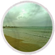 Round Beach Towel featuring the photograph Early Walk Weymouth Beach by Anne Kotan