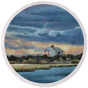 Early Winter Nocturne Round Beach Towel